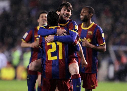 Messi celebrates his goal against Deportivo de La Coruña (by FC Barcelona)