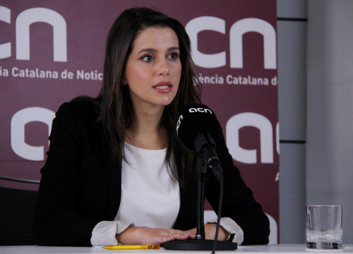 Ciutadans' candidate, Inés Arrimadas at press conference at CNA headquarters