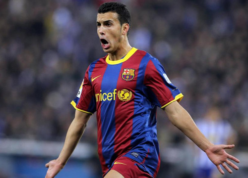 Pedro celebrate his second goal (by FC Barcelona)