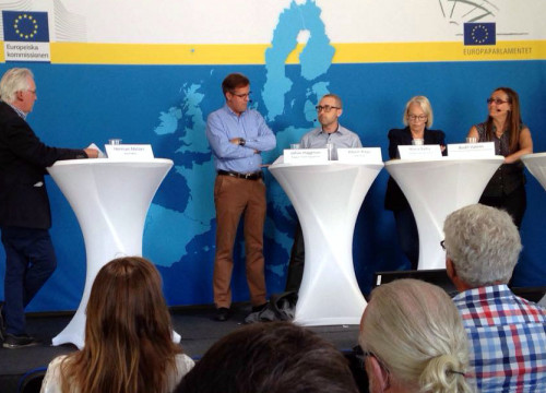 "Image of the debate ""The Catalan Case within the European Union"" held this weekend at Almedalsveckan political fest, in Sweden (by DIPLOCAT)"