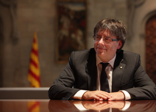 The Catalan President, Carles Puigdemont, during the interview (by V. Gumà)