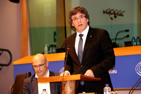 The Catalan President, Carles Puigdemont, during his speech in the European Parliament (by ACN)