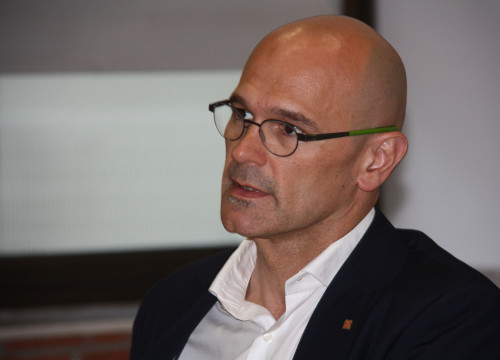 The Catalan Minister for Foreign Affairs, Raül Romeva, during the conference (by ACN)