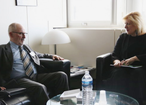 The Catalan ombudsman, Rafael Ribó, with the Commissioner of Human Rights of the Council of Europe, Dunja Mijatovic (by ACN)