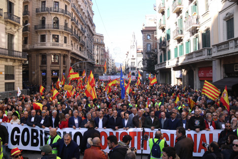 1,500 took part in the demonstration for Spain's unity in Barcelona (by ACN)