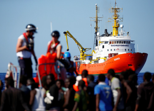 MV Aquarius rescue ship is seen as migrants are rescued by SOS Mediterranee organisation in the Mediterranean Sea (REUTERS)