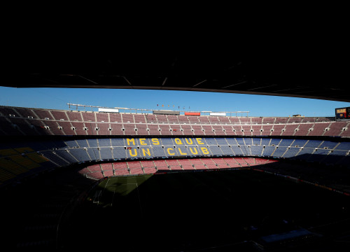 Image of FC Barcelona's Camp Nou empty on May 1, 2019 (by John Sibley/Reuters)