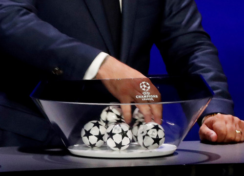 General view of the balls during the Champions League draw in Monaco, on Thursday (by Eric Gaillard/Reuters)