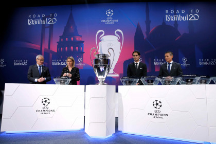 The 2019/20 Champions League round of 16 draw, which pitted Barcelona against Napoli, in Nyon (by Reuters)