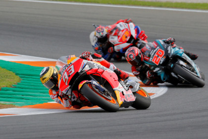 Catalan MotoGP rider Marc Marquez in action during the Valencian Grand Pirx in 2019 (by REUTERS/Heino Kalis)