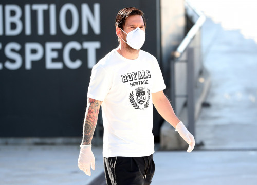 Lionel Messi arrives at FC Barcelona's training ground to have a coronavirus test before the team returns to training (by Miguel Ruiz/FC Barcelona)