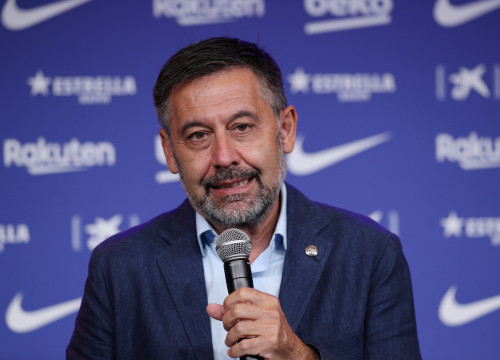 Josep Maria Bartomeu photographed at the unveiling of new signing Pedri in August, 2020 (by REUTERS/Albert Gea)