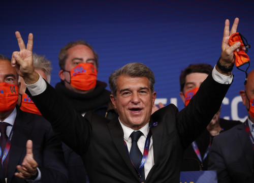 Newly elected president of FC Barcelona, Joan Laporta (image by REUTERS/Albert Gea)