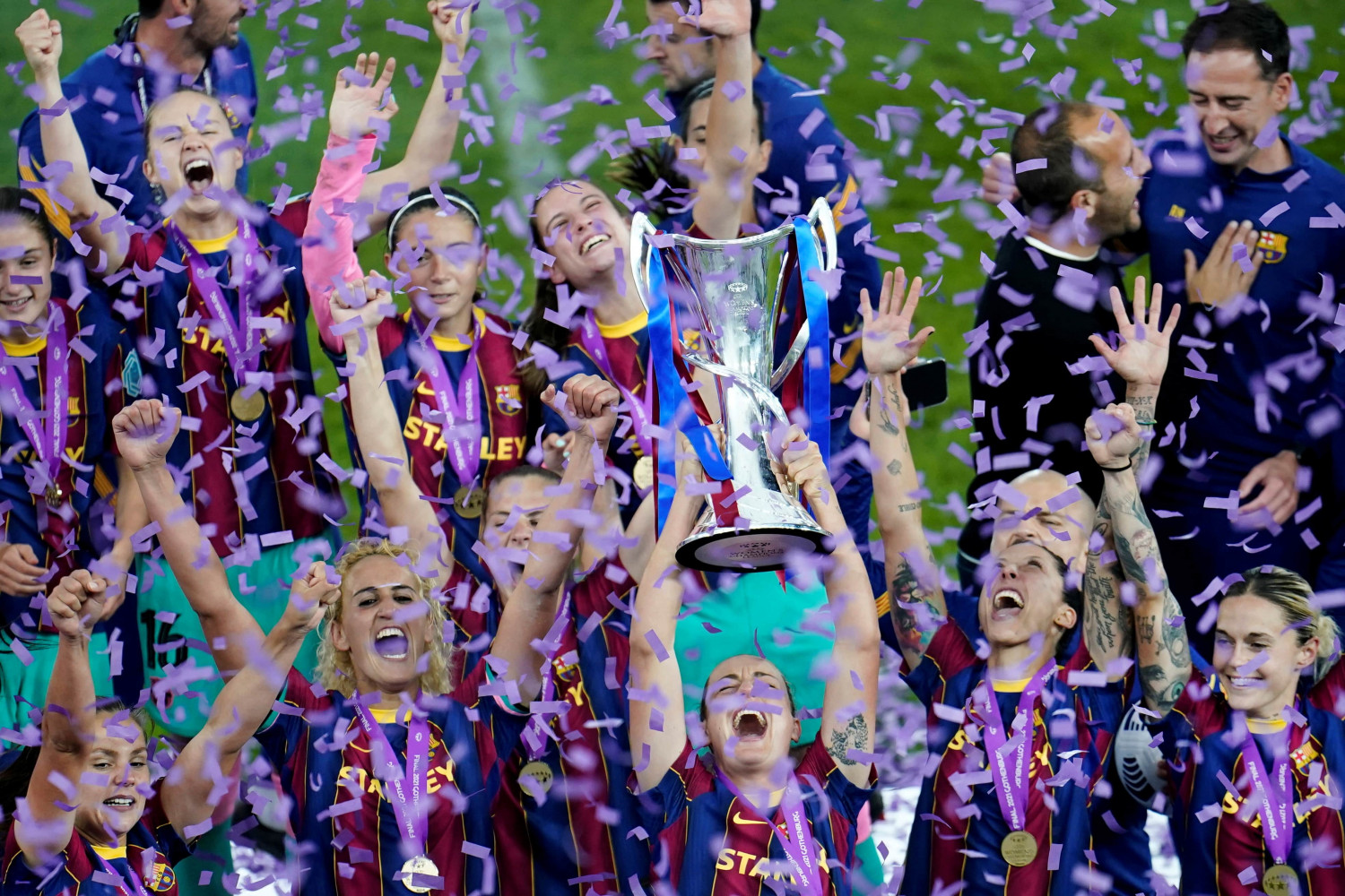 FC Barcelona players lift their first Women's Champions League trophy after defeating Chelsea in the final (by  Bjorn Larsson Rosvall/TT News Agency/Reuters)