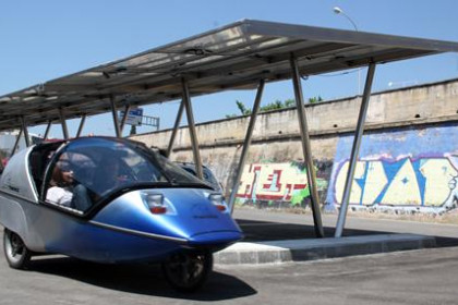 One of the electric cars that participate in the Solar Rally Phebus 2010, at the photovoltaic parking of Caldes d'Estrac.