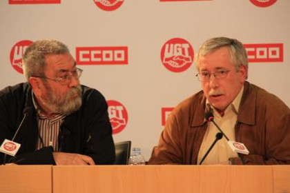 The leaders of the two main Spanish trade unions, Cándido Méndez from UGT and Ignacio Fernández Toxo from CCOO