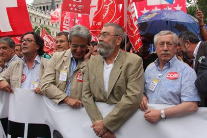 Trade union leaders at the recent demonstration in Madrid against public employees' wage cuts