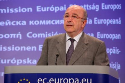 Joaquín Almunia, European Commissioner for Competition, today at the press conference.