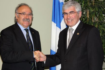Catalan Vice President, Josep-Lluís Carod Rovira (left) and Quebec's Minister for Economic Development, Clément Gignac