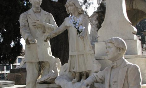 "Sculptures in Barcelona's Montjuic cemetery, which is also a ""European significant cemetery"""