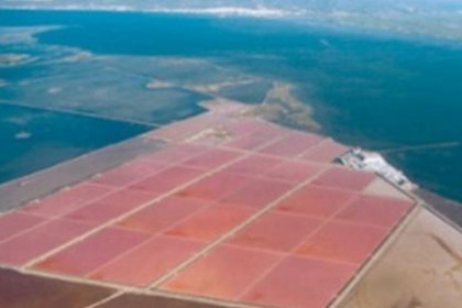 An air image from the Delta de l'Ebre salt evaporation ponds