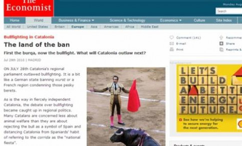 The Economist article about the bullfighting ban in Catalonia