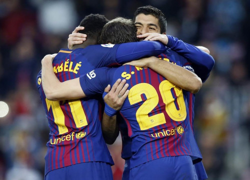 Suárez, Dembélé, and Sergio Roberto celebrate Barça's second goal of the match (by Miguel Ruiz, FCB)
