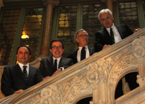 The mayor of Barcelona, Xavier Trias, Minister for Culture Ferran Mascarell, Director of the Ramon Llull Institute for Catalan Culture Àlex Susanna and deputy Mayor Jaume Ciurana (by ACN)