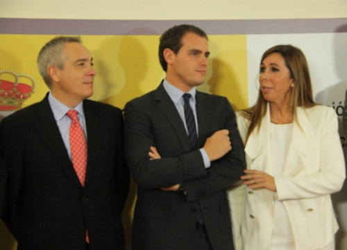 The leader of the PSC, Pere Navarro, the leader of C's Albert Rivera and the leader of the PPC, Alícia Sánchez-Camacho (by Rafa Garrido, ACN)