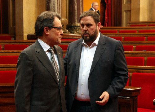 The Catalan President and leader of CiU, Artur Mas, and the leader of ERC, Oriol Junqueras (by ACN)