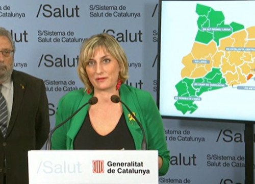 Health minister Alba Vergés speaking at press conference, May 6, 2020
