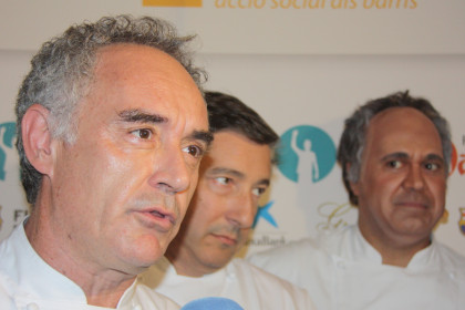 Catalan chef Ferran Adrià, with chef Joan Roca and actor Cesc Casanovas (by ACN)
