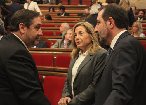 Joana Ortega, Ramon Espadaler and Josep Maria Pelegrí, from UDC, have quit the Catalan government (by ACN)