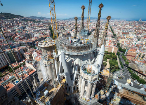 An areal image of the Sagrada Familia in 2016 (courtesy of the Sagrada Familia)