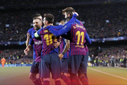 Barça celebrate reaching the quarter-finals for the 12th successive season
