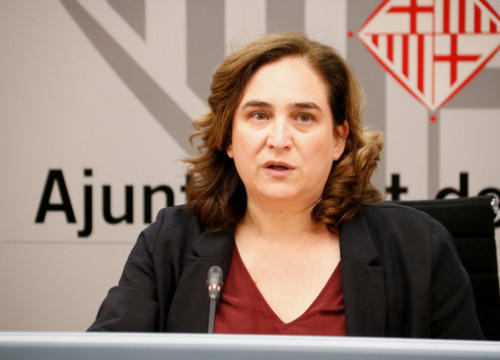 Barcelona mayor Ada Colau at a press conference on March 11, 2020 (by Blanca Blay)