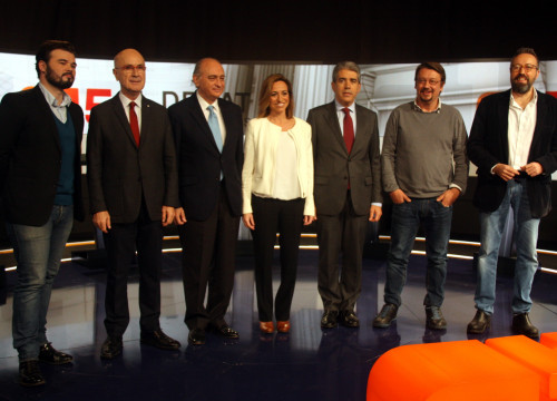 Image of the seven candidates for Barcelona running for the Spanish Elections: ERC's Gabriel Rufián, Unió's Josep Antonio Duran i Lleida, PPC's Jorge Fernández Díaz, PSC's Carme Chacón, Democràcia i Llibertat's Francesc Homs, En Comú Podem's Xavier Domène