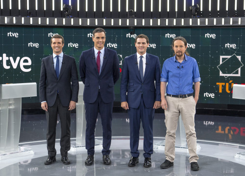 Picture of the four candidates running for Spanish president attending the debate on TVE on April 22 (by RTVE)