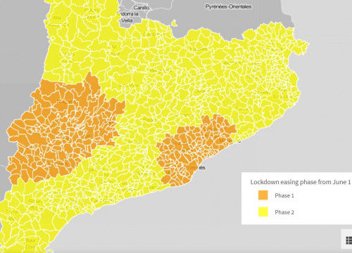 Map of Catalan municipalities by lockdown de-escalation phase from June 1 (by Guifré Jordan)