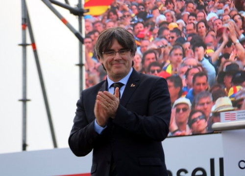 Carles Puigdemont at a Council for the Republic event in Perpignan in February (by Eli Don)