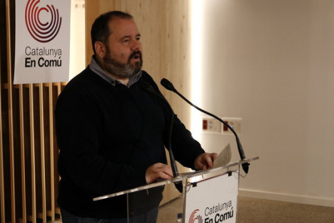 CatECP spokesperson Joan Mena speaks at a press conferemce on January 28 2019 (by Guillem Roset)