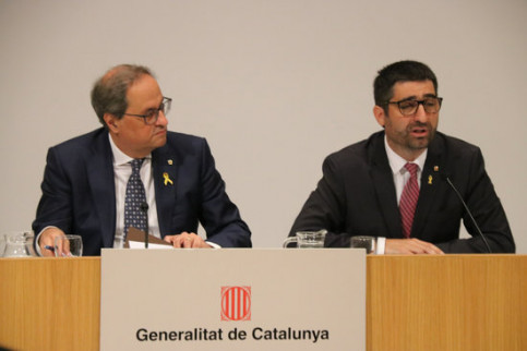 Catalan President Quim Torra and Minister for Digital Policy and Public Administration Jordi Puigneró presenting IdentiCAT on September 7, 2019 (Miquel Codolar/ACN)