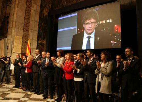 Catalan government members at headquarters in Barcelona inaugurate the Council for the Republic on October 30 2018 (by Alan Ruiz Terol)
