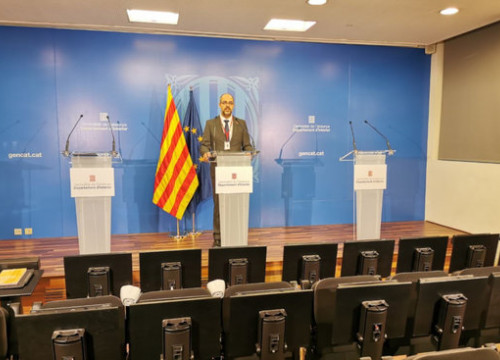Catalan interior minister Miquel Buch speaking at a press conference on March 30, 2020 (courtesy of Catalan Government)