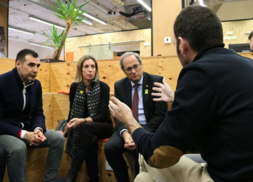 Catalan president Quim Torra and business minister Àngels Chacon during their meeting at Pier01 on November 26 2018 (by Andrea Zamorano)