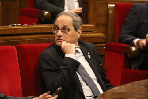 Catalan president Quim Torra at the parliament's extraordinary plenary session on January 4, 2019 (by Mariona Puig)