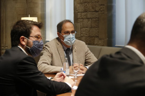 Catalan president Quim Torra during a meeting with Procicat on July 4, 2020 (by Gerard Artigas)