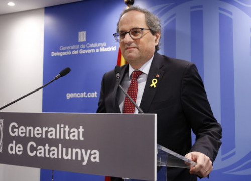 Catalan president Quim Torra during the press conference at the Blanquerna cultural center in Madrid on February 12 2019 (by Guifré Jordan)