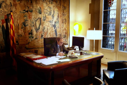 Catalan president Quim Torra working from his official residence following his coronavirus diagnosis
