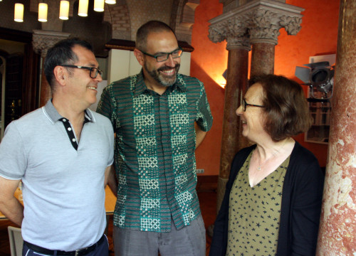 Institut Ramon Llull's Director, Manuel Forcano, joined by Josep-Anton Fernández, responsbile for the IRL's Universities Department and Carme Oriol, from Universitat Rovira i Virgili (by ACN)